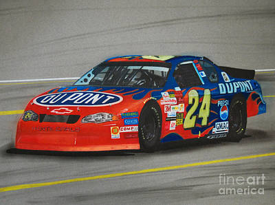 Jeff Gordon Hits Pit Road Art Print by Paul Kuras