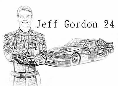Jeff Gordon Art Print by Nick Bergstrom