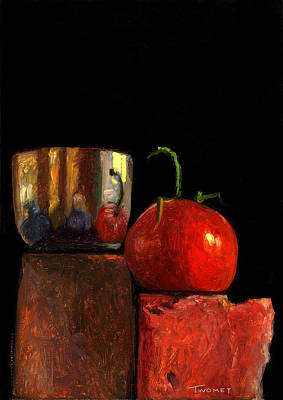 Politicians Paintings - Jefferson Cup With Tomato and Sedona Bricks by Catherine Twomey
