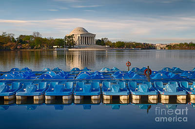 Jefferson Memorial And Paddle Boats Art Print by Jerry Fornarotto
