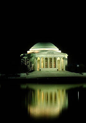Reflection Photograph - Jefferson Memorial At Night by Greg and Chrystal Mimbs