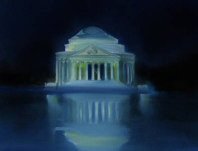 Jefferson Memorial Painting - Jefferson Memorial At Night by Neal Cormier
