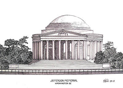 Pen And Ink Historic Buildings Drawings Drawing - Jefferson Memorial by Frederic Kohli