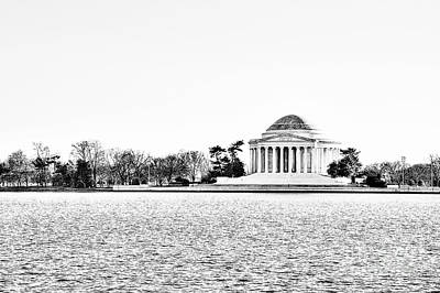 Us Capital Photograph - Jefferson Memorial In Bw by Emily Kay