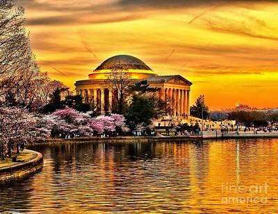 Photograph - Jefferson Memorial Sunset by Nick Zelinsky