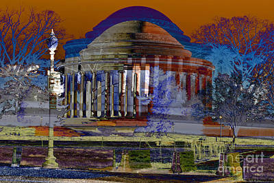 Jefferson Memorial Digital Art - Jefferson Memorial The Winter Redone by Keven Reynolds