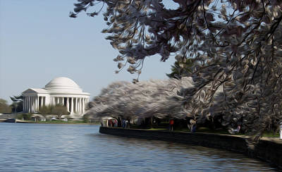 Jefferson Memorial Digital Art - Jeffersonian Blossoms by Kelvin Booker