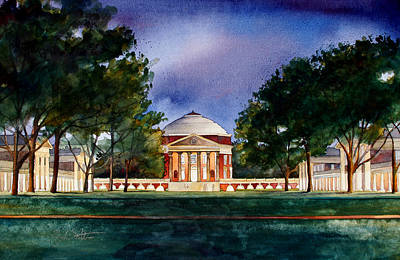 Uva Painting - Jeffersons Lawn University Of Virginia by Jim Smither