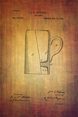 Ale Mixed Media - Jeffords Beer Mug Patent From 1883 by Eti Reid
