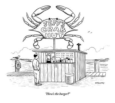 Burger Drawing - Jeff's Crab Hut by Alex Gregory