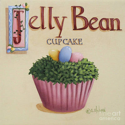 Country Kitchen Decor Painting - Jelly Bean Cupcake by Catherine Holman
