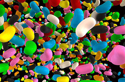 Gummy Digital Art - Jelly Bean Falling Joy by Allan Swart