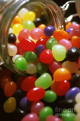 Candy Jar Photograph - Jelly Beans Spilling Out Of Glass Jar by Anonymous