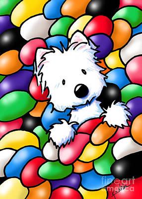 Westie Mixed Media - Jelly Beans Westie Terrier by Kim Niles