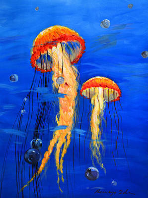 Painting - Jellyfish 1 by Kanayo Ede