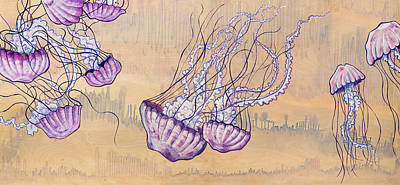 Under The Ocean Painting - Jellyfish Ballet by Emily Brantley