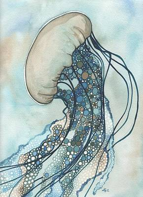 Teal Painting - Jellyfish Two by Tamara Phillips