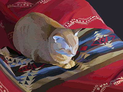 Wall Art - Painting - Jem And Blanket by Pam Little
