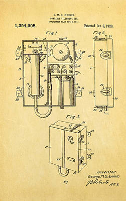 Jenkins Portable Telephone Patent Art 1920 Art Print by Ian Monk