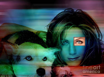 Jennifer Aniston And Dog  Print by Marvin Blaine