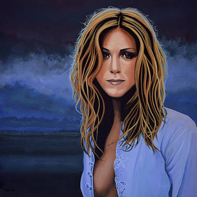 With Blue Painting - Jennifer Aniston Painting by Paul Meijering