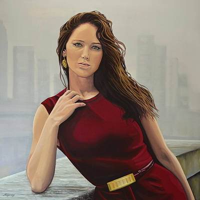 Globe Painting - Jennifer Lawrence Painting by Paul Meijering
