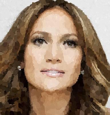 Painting - Jennifer Lopez Portrait by Samuel Majcen