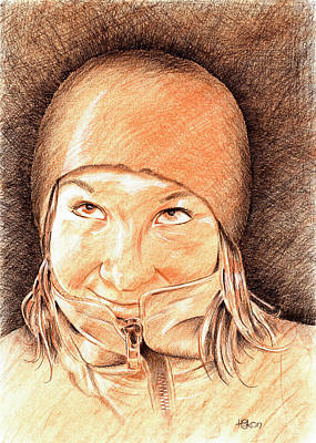 Color Pencil Drawing - Jenny 2 by Hakon Soreide