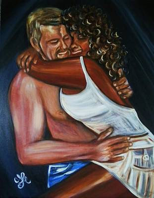 Painting - Jenny And Rene - Interracial Lovers Series by Yesi Casanova