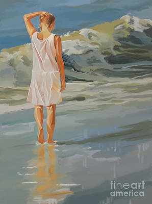 Walking Painting - Jenny Walking The Beach by Tim Gilliland