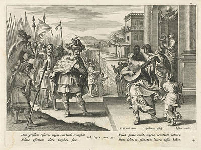 Tears Drawing - Jephthah Is Welcomed By His Daughter, Nicolaes Ryckmans by Nicolaes Ryckmans And Claes Jansz. Visscher (ii)