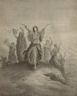 Yahweh Drawing - Jephthah Met By His Daughter by Antique Engravings