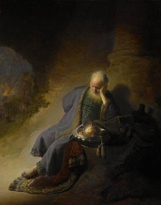 Netherlands Painting - Jeremiah Lamenting The Destruction Of Jerusalem by Rembrandt van Rijn