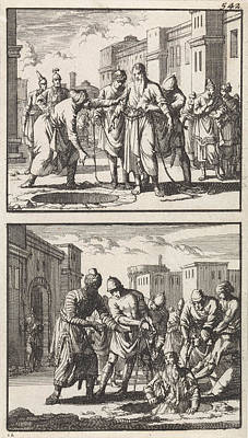 Jeremiah Thrown Into A Pit, Jeremiah Pulled Out Of The Pit Art Print by Jan Luyken And Barent Visscher And Andries Van Damme