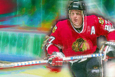 Ice Hockey Painting - Jeremy Roenick Chicago Blackhawks  by Tony Rubino
