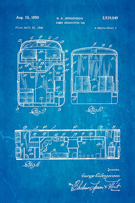 Jergenson Domed Observation Car Patent Art 1950 Blueprint Print by Ian Monk