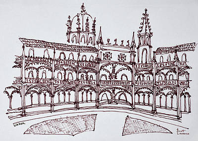 Pen And Ink Drawing Photograph - Jeronimos Monastery Cloister, Lisbon by Richard Lawrence