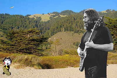 Jerry Garcia Photograph - Jerry And Felix At Stinson Beach by Ben Upham