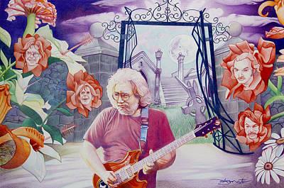 Drawing - Jerry Garcia-american Beauty by Joshua Morton