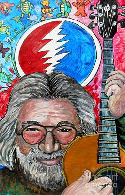 Jam Bands Painting - Jerry Garcia Fun Tribute by Emily Michaud