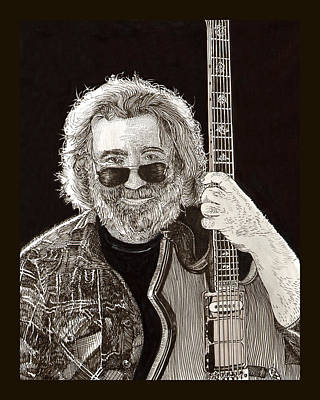 Drawing - Jerry Garcia String Beard Guitar by Jack Pumphrey