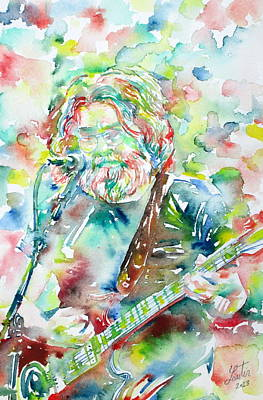 Concert Images Painting - Jerry Garcia Playing The Guitar Watercolor Portrait.2 by Fabrizio Cassetta