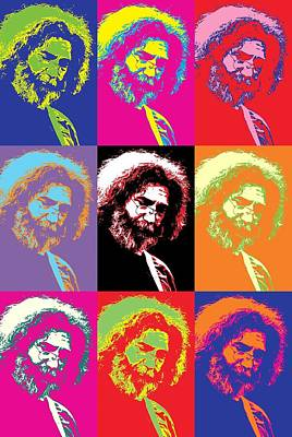 The Grateful Dead Digital Art - Jerry Garcia Pop Art Collage by Dan Sproul