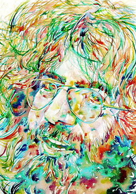 Grateful Dead Painting - Jerry Garcia Watercolor Portrait.1 by Fabrizio Cassetta