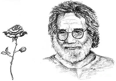 Jerry Garcia Drawing - Jerry In Charcoal by Marianne Wurtele
