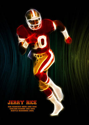 Jerry Rice Art Print by Aged Pixel