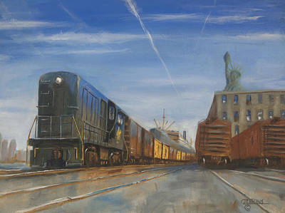 City Scape Painting - Jersey Central Lines by Christopher Jenkins