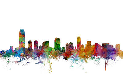 Silhouette Digital Art - Jersey City New Jersey Skyline by Michael Tompsett