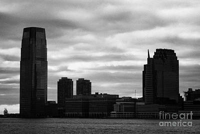 Jersey City New Jersey Waterfront And 10 Exchange Place Silhouette Art Print by Joe Fox