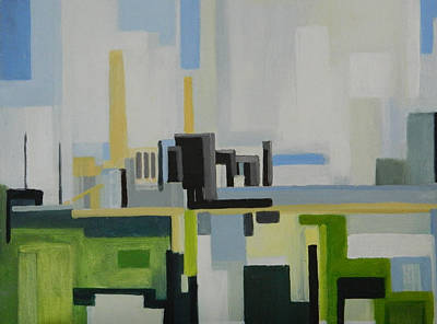 Painting - Jersey City Pseg From Turnpike by Ron Erickson
